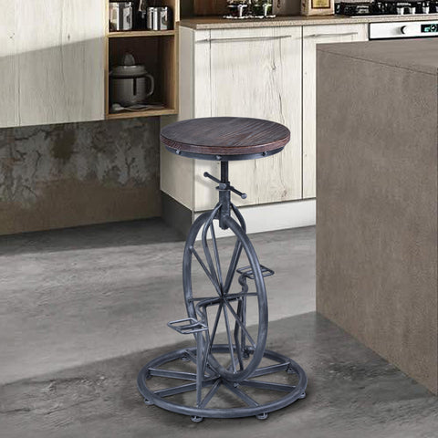 Armen Living LCHASTSBPI Harlem Adjustable Swivel Stool in Silver Brushed Stainless Steel Finish with Ash Pine Wood seat
