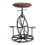 Armen Living LCHASTSBWR Harlem Adjustable Industrial Metal Bicycle Barstool in Industrial Gray finish with Wrangler Fabric