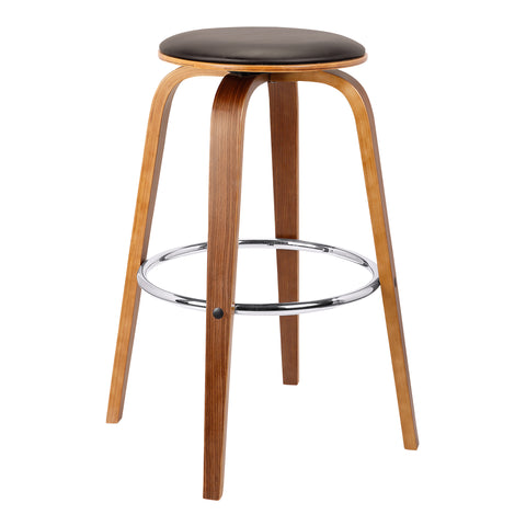"Armen Living LCHBBABRWA30 Harbor 30"" Mid-Century Swivel Bar Height Backless Barstool in Brown Faux Leather with Walnut Veneer"
