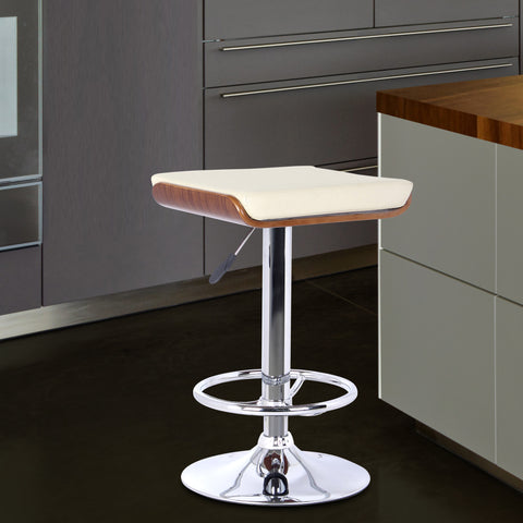 Armen Living LCJABACRWA Java Barstool in Chrome finish with Walnut wood and Cream Faux Leather