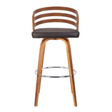 "Armen Living LCJYBABRWA26 Jayden 26"" Mid-Century Swivel Counter Height Barstool in Brown Faux Leather with Walnut Veneer"