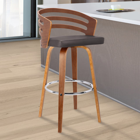 "Armen Living LCJYBABRWA30 Jayden 30"" Mid-Century Swivel Bar Height Barstool in Brown Faux Leather with Walnut Veneer"