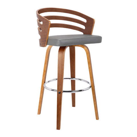 "Armen Living LCJYBAGRWA30 Jayden 30"" Mid-Century Swivel Bar Height Barstool in Grey Faux Leather with Walnut Veneer"