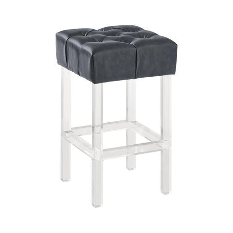 "Armen Living LCKABAGR26 Kara Contemporary 26"" Counter Height Barstool in Grey Faux Leather with Acrylic Legs"