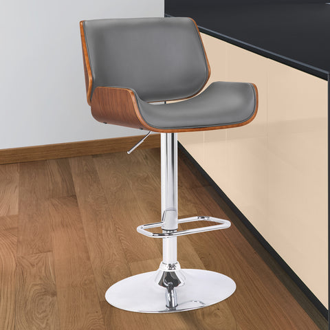 Armen Living LCLOSWBAGRWA London Contemporary Swivel Barstool in Grey Faux Leather with Chrome and Walnut Wood