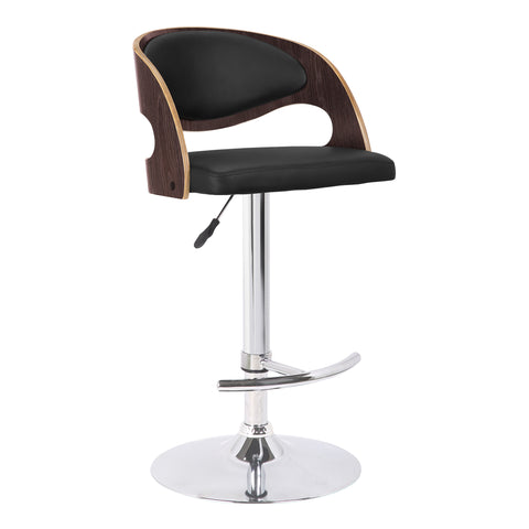 Armen Living LCMASWBABLDO Malibu Swivel Barstool in Black Faux Leather with Dark Oak Wood Finish