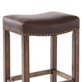 "Armen Living LCMBS013BAKA30 Tudor 30"" Bar Height Wood Backless Barstool in Chestnut Finish and Kahlua Faux Leather"