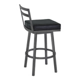 "Armen Living LCMOBAMFBL30 Moniq 30"" Bar Height Metal Swivel Barstool in Ford Black Faux Leather and Mineral Finish"