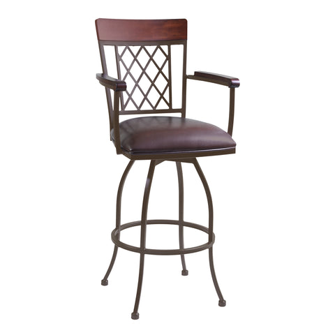 "Armen Living LCNA30ARBABR Napa 30"" Bar Height Arm Barstool in Auburn Bay finish with Brown Faux Leather"