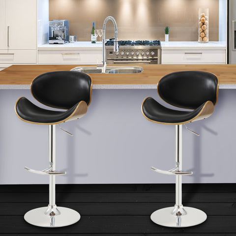 Armen Living LCNABABLKWA Naples Swivel Barstool in Chrome finish with Black Faux Leather and Walnut Veneer Back
