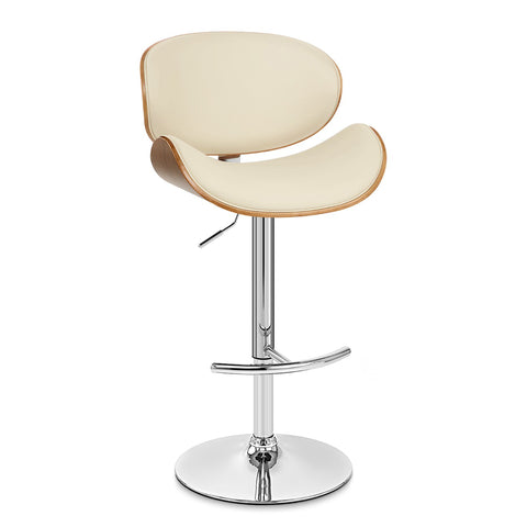 Armen Living LCNABACRWA Naples Swivel Barstool in Chrome finish with Cream Faux Leather and Walnut Veneer Back
