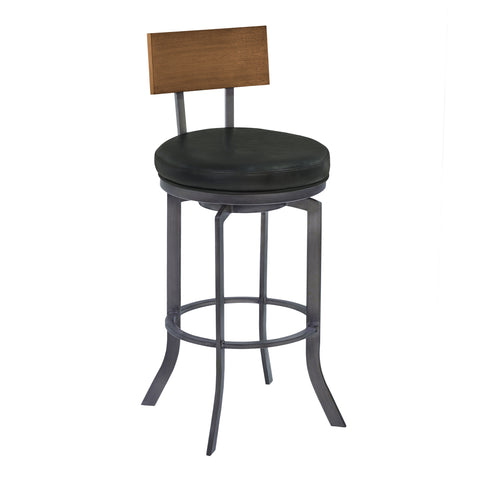 "Armen Living LCOJBAVB30 Ojai 30"" Bar Height Metal Swivel Barstool in Vintage Black Faux Leather with Mineral Finish and Walnut Wood Back"