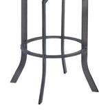 "Armen Living LCOJBAVBGR30 Ojai 30"" Bar Height Metal Swivel Barstool in Vintage Black Faux Leather with Mineral Finish and Gray Walnut Wood Back"