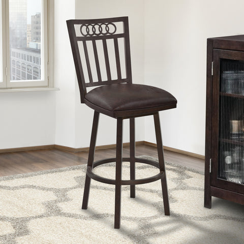 "Armen Living LCOLBAES30 Olympia 30"" Bar Height Metal Swivel Barstool in Bandero Espresso Fabric and Auburn Bay Finish"