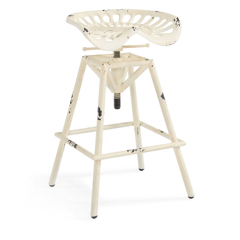 Armen Living LCOSSTREAW Osbourne Adjustable Industrial Metal Barstool in Antique White finish