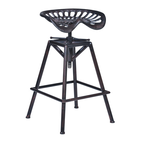 Armen Living LCOSSTRECO26 Osbourne Adjustable Swivel Barstool in Industrial Copper Finish and Seat