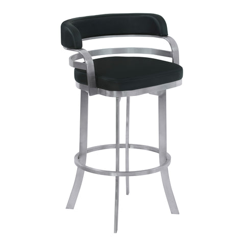 "Armen Living LCPRBABLBS26 Prinz 26"" Counter Height Metal Swivel Barstool in Black Faux Leather with Brushed Stainless Steel Finish"