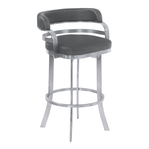 "Armen Living LCPRBAGRBS26 Prinz 26"" Counter Height Metal Swivel Barstool in Gray Faux Leather with Brushed Stainless Steel Finish"