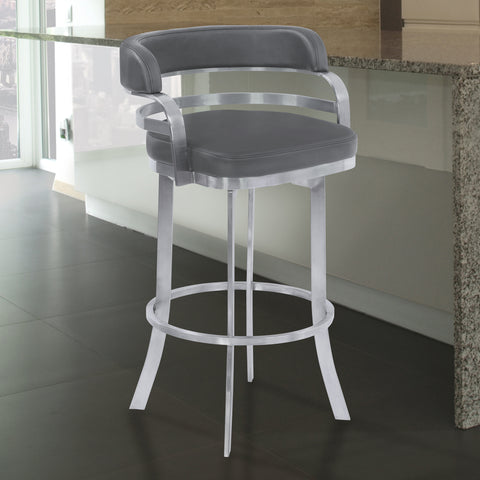 "Armen Living LCPRBAGRBS30 Prinz 30"" Bar Height Metal Swivel Barstool in Gray Faux Leather with Brushed Stainless Steel Finish"