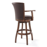 "Armen Living LCRABAARKACH26 Raleigh Arm 26"" Counter Height Swivel Wood Barstool in Chestnut Finish and Kahlua Faux Leather"