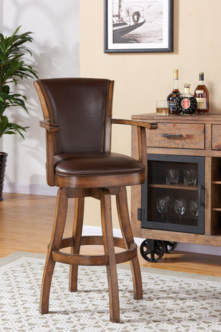 "Armen Living LCRABAARKACH30 Raleigh Arm 30"" Bar Height Swivel Wood Barstool in Chestnut Finish and Kahlua Faux Leather"