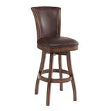 "Armen Living LCRABASIKACH26 Raleigh 26"" Counter Height Swivel Wood Barstool in Chestnut Finish and Kahlua Faux Leather"