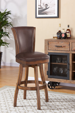 "Armen Living LCRABASIKACH30 Raleigh 30"" Bar Height Swivel Wood Barstool in Chestnut Finish and Kahlua Faux Leather"