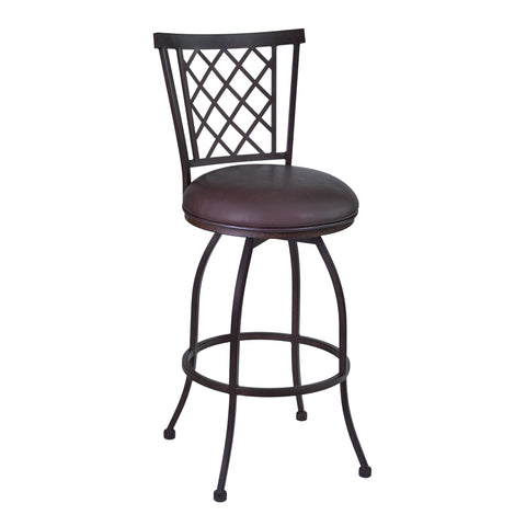 "Armen Living LCRE30BABR Reno 30"" Bar Height Barstool in Auburn Bay finish with Brown Faux Leather"