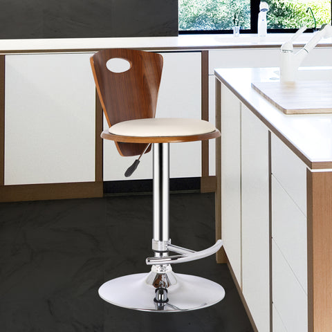 Armen Living LCSEBACRWA Seattle Barstool in Chrome finish with Cream Faux Leather and Walnut Back