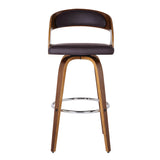 "Armen Living LCSHBABRWA30 Shelly 30"" Bar Height Barstool in Walnut Wood Finish with Brown PU"