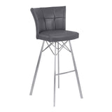 "Armen Living LCSPBAVGBS26 Spago 26"" Counter Height Metal Barstool in Vintage Gray Faux Leather with Brushed Stainless Steel Finish"