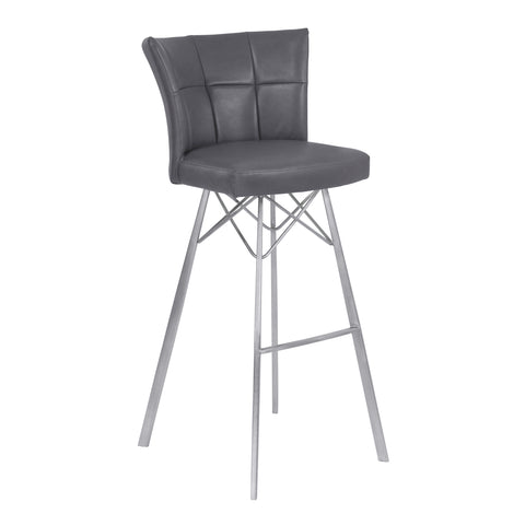 "Armen Living LCSPBAVGBS30 Spago 30"" Bar Height Metal Barstool in Vintage Gray Faux Leather with Brushed Stainless Steel Finish"