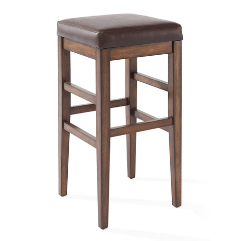 "Armen Living LCSTBAKACH26 Sonata 26"" Counter Height Wood Backless Barstool in Chestnut Finish and Kahlua Faux Leather"