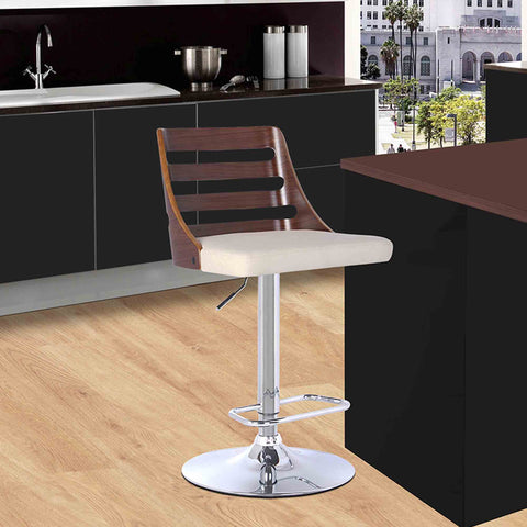 Armen Living LCSTBAWACR Storm Barstool in Chrome finish with Walnut wood and Cream Faux Leather