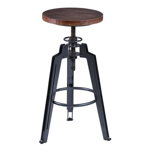 Armen Living LCTRSTGMPI Tribeca Adjustable Barstool Metal in Industrial Grey finish with Pine Wood seat