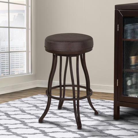 "Armen Living LCVEBAES30 Ventura 30"" Bar Height Metal Swivel Backless Barstool in Bandero Espresso Fabric and Auburn Bay Finish"