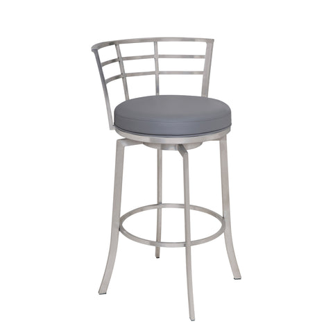 "Armen Living LCVI26BAGR Viper 26"" Counter Height Swivel Barstool in Brushed Stainless Steel finish with Grey Faux Leather"