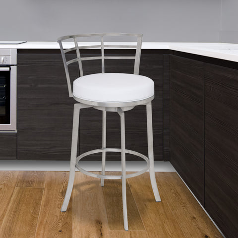 "Armen Living LCVI26BAWH Viper 26"" Counter Height Swivel Barstool in Brushed Stainless Steel finish with White Faux Leather"