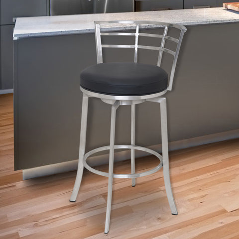 "Armen Living LCVI30BABLK Viper 30"" Bar Height Swivel Barstool in Brushed Stainless Steel finish with Black Faux Leather"