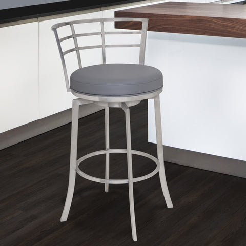 "Armen Living LCVI30BAGR Viper 30"" Bar Height Swivel Barstool in Brushed Stainless Steel finish with Grey Faux Leather"