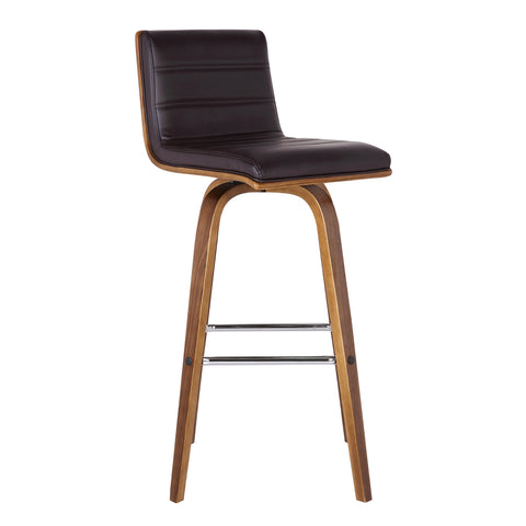"Armen Living LCVIBABRWA26 Vienna 26"" Counter Height Barstool in Walnut Wood Finish with Brown Faux Leather"