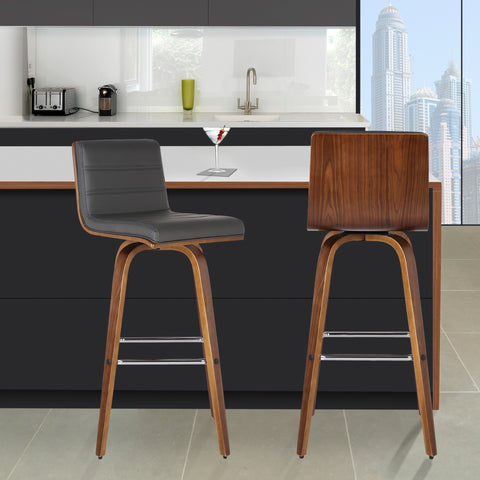 "Armen Living LCVIBAGRWA26 Vienna 26"" Counter Height Barstool in Walnut Wood Finish with Grey Faux Leather"