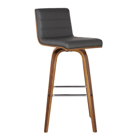 "Armen Living LCVIBAGRWA30 Vienna 30"" Bar Height Barstool in Walnut Wood Finish with Grey Faux Leather"