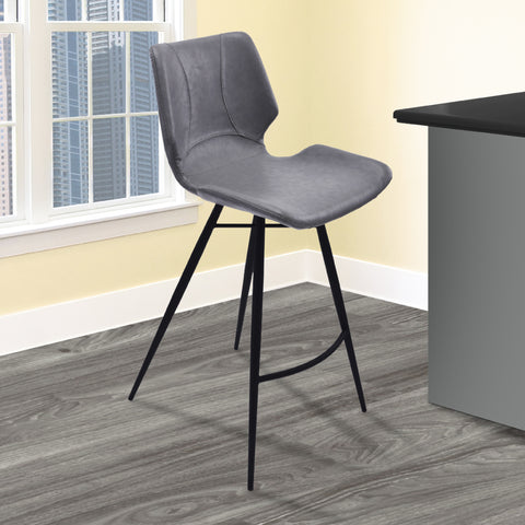 "Armen Living LCZUBAVGBL26 Zurich 26"" Counter Height Metal Barstool in Vintage Gray Faux Leather and Black Metal Finish"