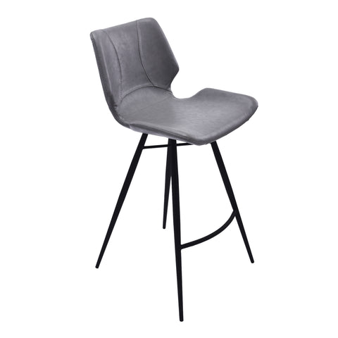 "Armen Living LCZUBAVGBL30 Zurich 30"" Bar Height Metal Barstool in Vintage Gray Faux Leather and Black Metal Finish"