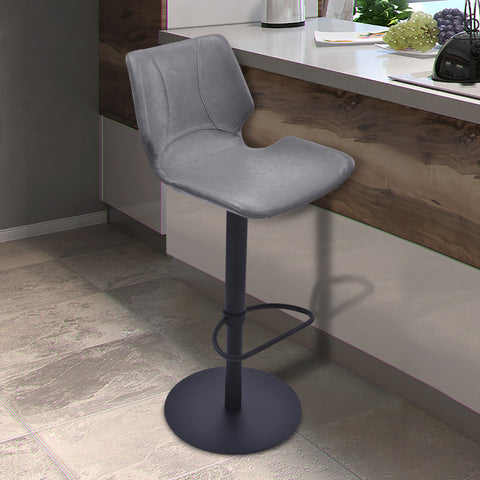 Armen Living LCZUBAVGBL Zuma Adjustable Swivel Metal Barstool in Vintage Gray Faux Leather and Black Metal Finish