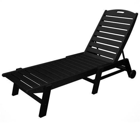 Polywood NAW2280BL Nautical Wheeled Chaise - Stackable Black Finish - PolyFurnitureStore