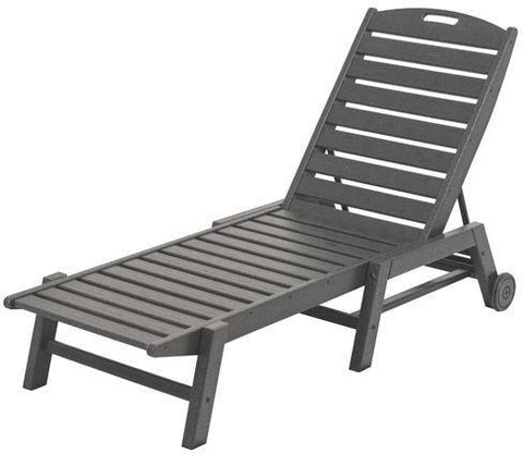 Polywood NAW2280GY Nautical Wheeled Chaise - Stackable Slate Grey Finish - PolyFurnitureStore - 1