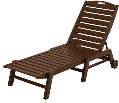Polywood NAW2280MA Nautical Wheeled Chaise - Stackable Mahogany Finish - PolyFurnitureStore - 1