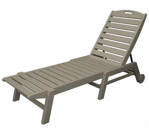 Polywood NAW2280SA Nautical Wheeled Chaise - Stackable Sand Finish - PolyFurnitureStore